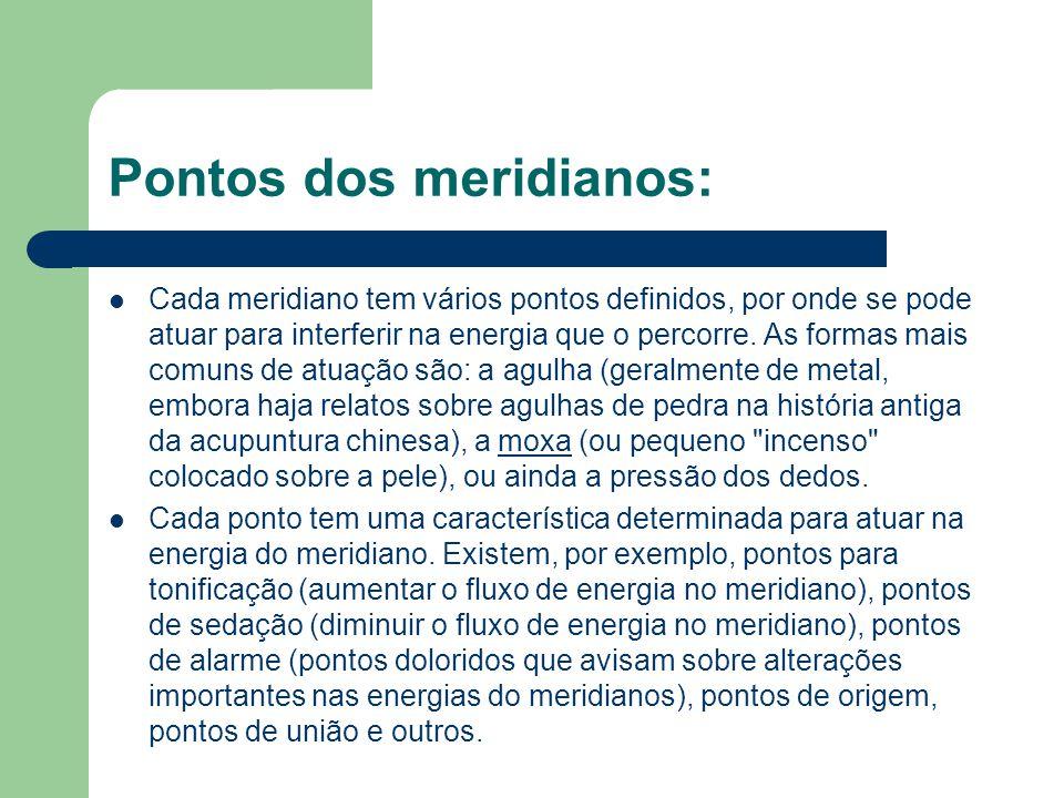 Pontos dos meridianos: Cada meridiano tem vários pontos definidos, por onde se pode atuar para interferir na energia que o percorre.