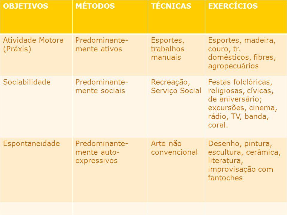 OBJETIVOSMÉTODOSTÉCNICASEXERCÍCIOS Atividade Motora (Práxis) Predominante- mente ativos Esportes, trabalhos manuais Esportes, madeira, couro, tr. domé