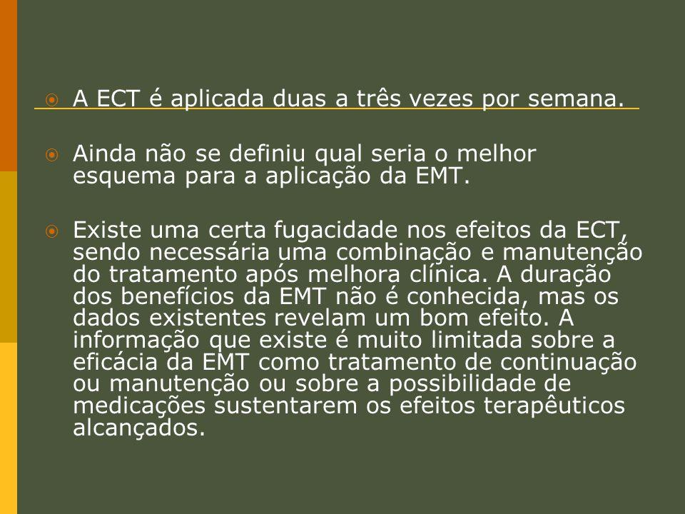  A ECT é aplicada duas a três vezes por semana.  Ainda não se definiu qual seria o melhor esquema para a aplicação da EMT.  Existe uma certa fugaci