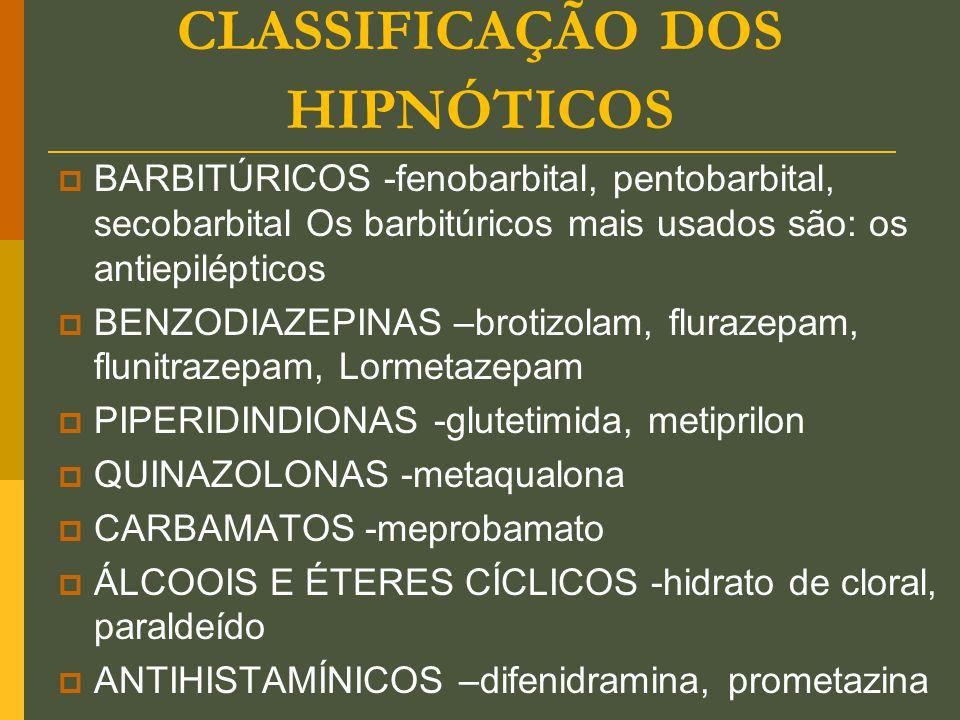 CLASSIFICAÇÃO DOS HIPNÓTICOS  BARBITÚRICOS -fenobarbital, pentobarbital, secobarbital Os barbitúricos mais usados são: os antiepilépticos  BENZODIAZ