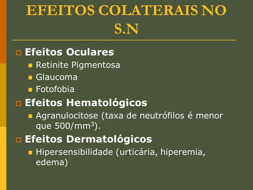EFEITOS COLATERAIS NO S.N  Efeitos Oculares Retinite Pigmentosa Glaucoma Fotofobia  Efeitos Hematológicos Agranulocitose (taxa de neutrófilos é meno