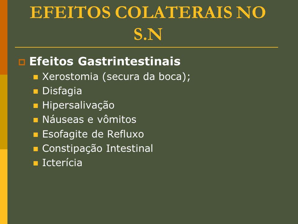 EFEITOS COLATERAIS NO S.N  Efeitos Gastrintestinais Xerostomia (secura da boca); Disfagia Hipersalivação Náuseas e vômitos Esofagite de Refluxo Const