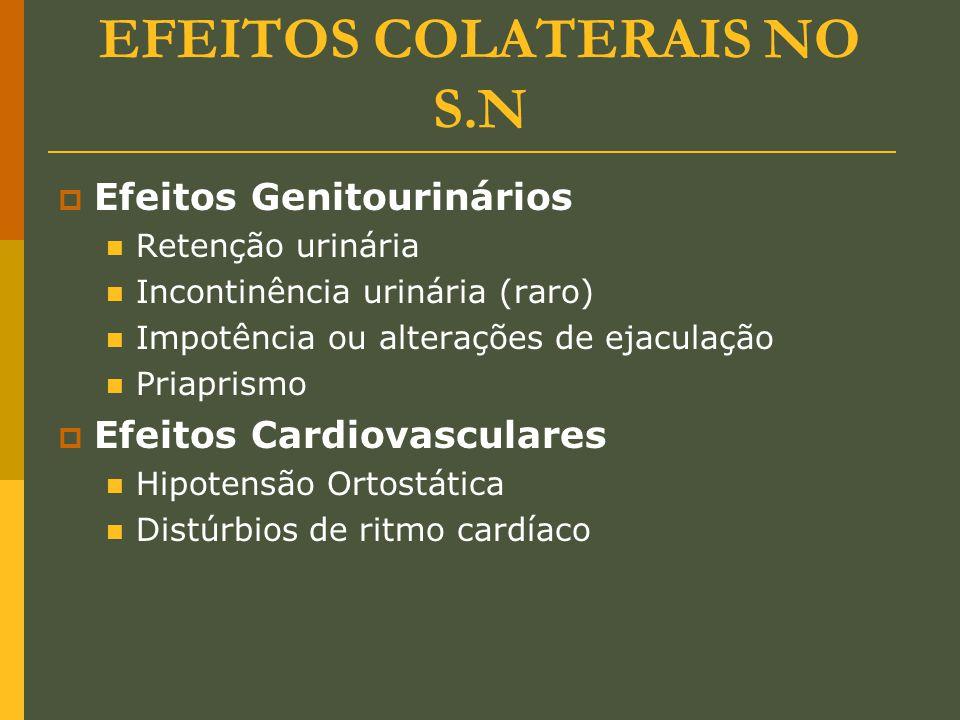 EFEITOS COLATERAIS NO S.N  Efeitos Genitourinários Retenção urinária Incontinência urinária (raro) Impotência ou alterações de ejaculação Priaprismo