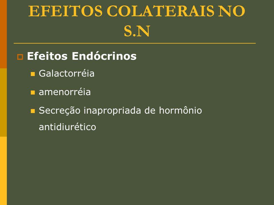 EFEITOS COLATERAIS NO S.N  Efeitos Endócrinos Galactorréia amenorréia Secreção inapropriada de hormônio antidiurético