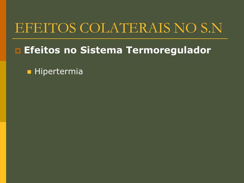 EFEITOS COLATERAIS NO S.N  Efeitos no Sistema Termoregulador Hipertermia