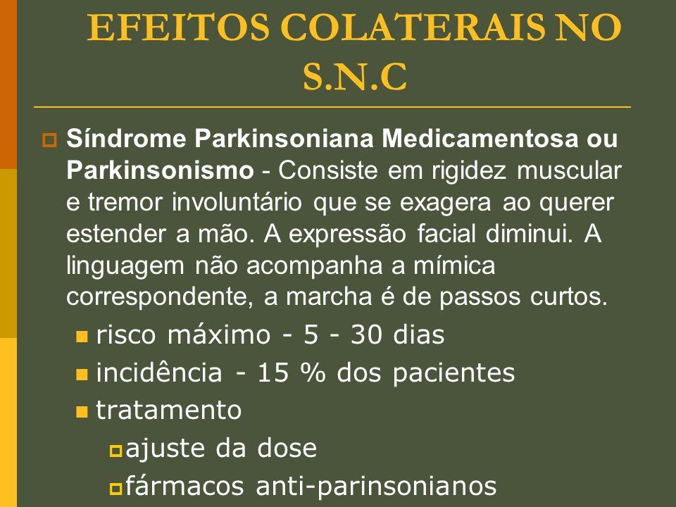 EFEITOS COLATERAIS NO S.N.C  Síndrome Parkinsoniana Medicamentosa ou Parkinsonismo - Consiste em rigidez muscular e tremor involuntário que se exager