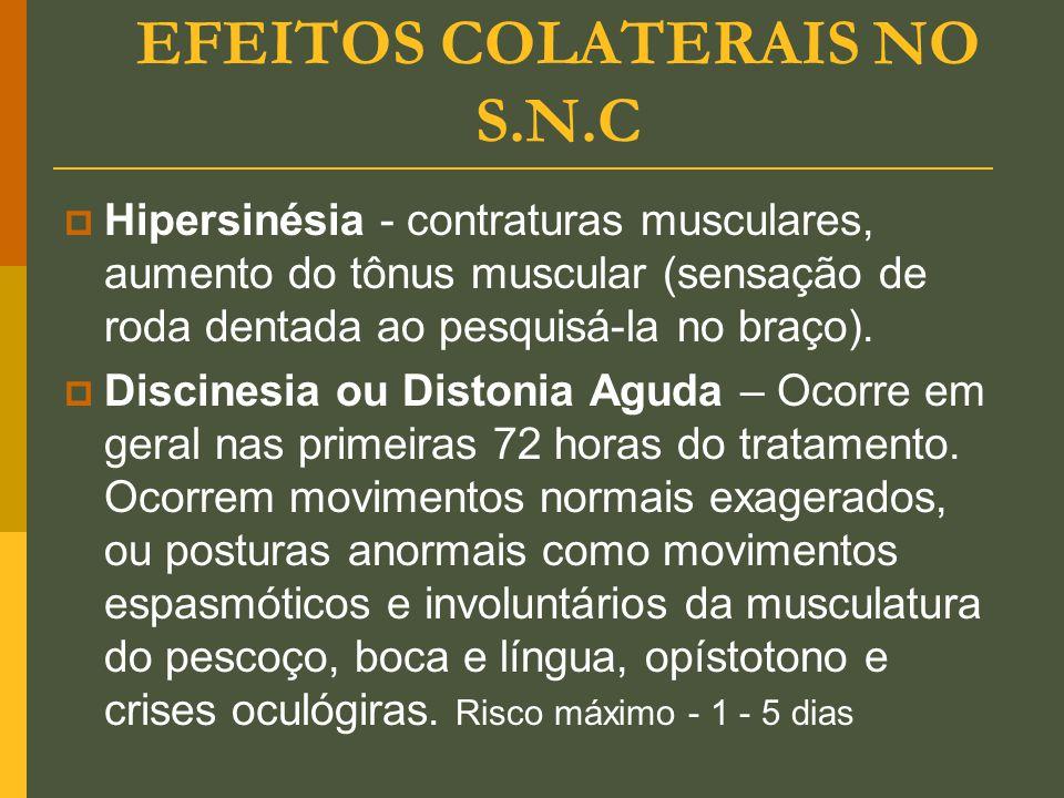 EFEITOS COLATERAIS NO S.N.C  Hipersinésia - contraturas musculares, aumento do tônus muscular (sensação de roda dentada ao pesquisá-la no braço).  D