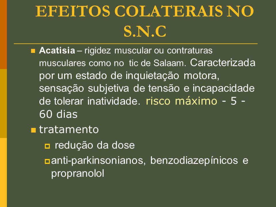 EFEITOS COLATERAIS NO S.N.C Acatisia – rigidez muscular ou contraturas musculares como no tic de Salaam. Caracterizada por um estado de inquietação mo