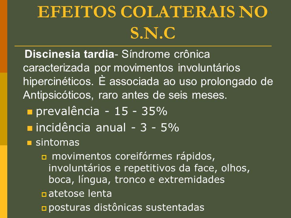 EFEITOS COLATERAIS NO S.N.C Discinesia tardia- Síndrome crônica caracterizada por movimentos involuntários hipercinéticos. È associada ao uso prolonga