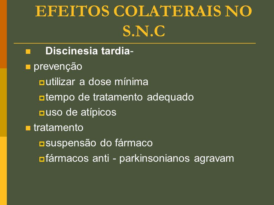 EFEITOS COLATERAIS NO S.N.C Discinesia tardia- prevenção  utilizar a dose mínima  tempo de tratamento adequado  uso de atípicos tratamento  suspen