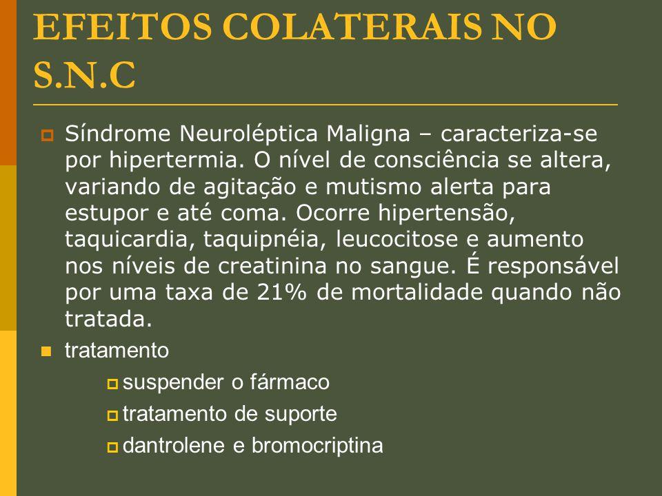 EFEITOS COLATERAIS NO S.N.C  Síndrome Neuroléptica Maligna – caracteriza-se por hipertermia. O nível de consciência se altera, variando de agitação e