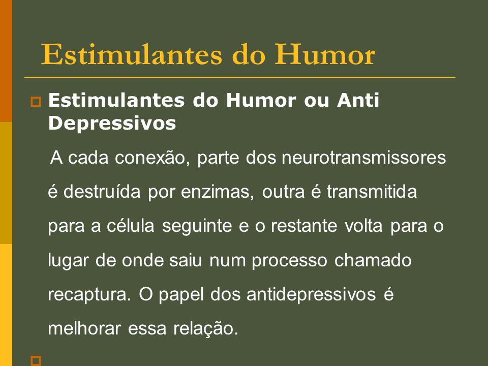 Estimulantes do Humor  Estimulantes do Humor ou Anti Depressivos A cada conexão, parte dos neurotransmissores é destruída por enzimas, outra é transm