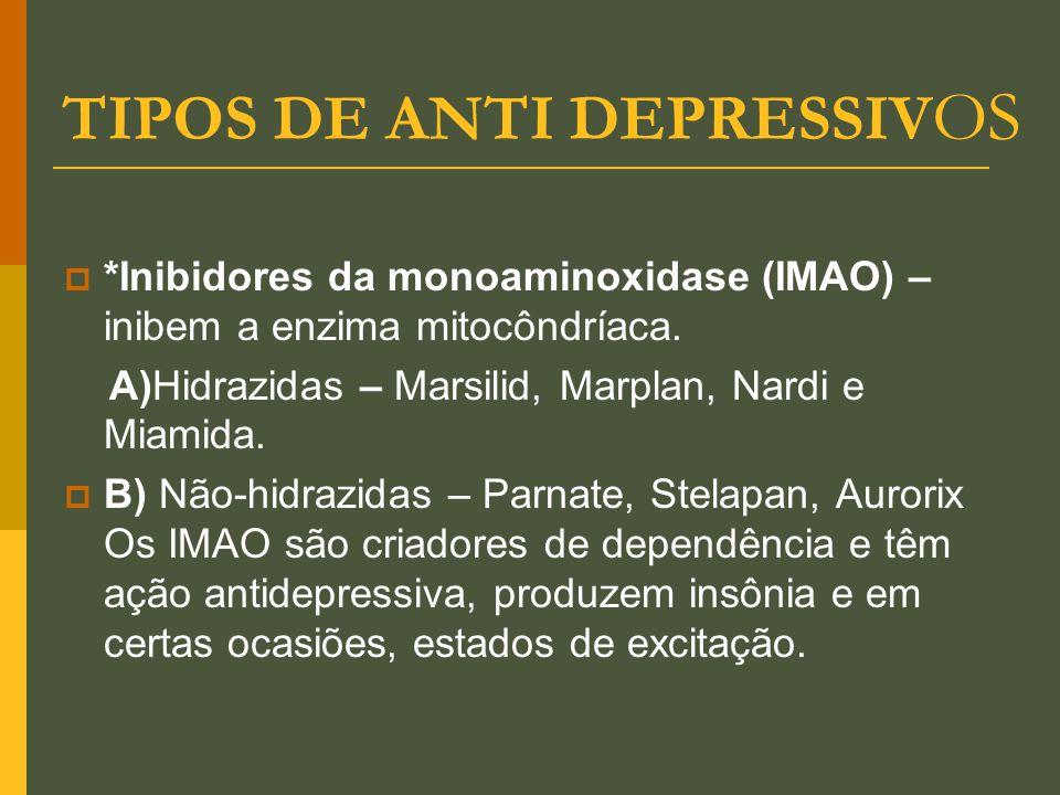 TIPOS DE ANTI DEPRESSIV OS  *Inibidores da monoaminoxidase (IMAO) – inibem a enzima mitocôndríaca. A)Hidrazidas – Marsilid, Marplan, Nardi e Miamida.