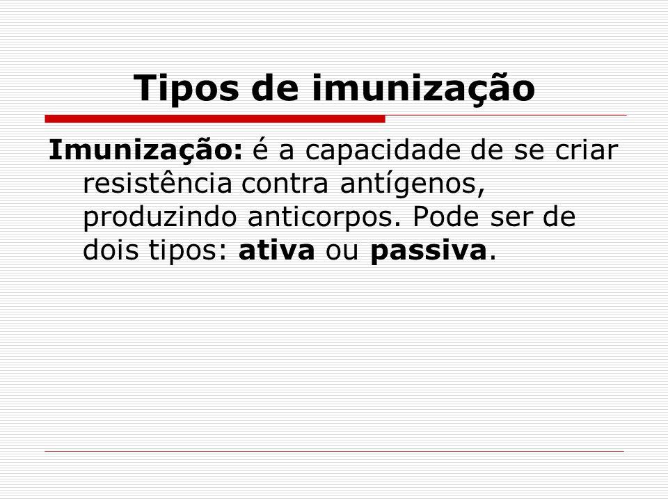 Tipos de imunização Imunização: é a capacidade de se criar resistência contra antígenos, produzindo anticorpos. Pode ser de dois tipos: ativa ou passi