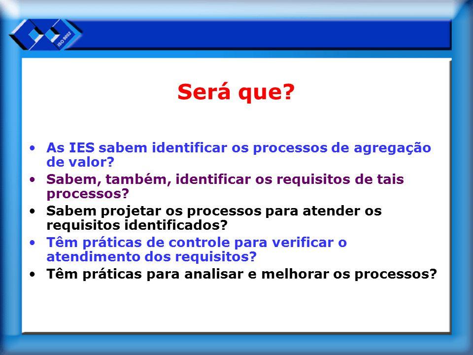 Será que? As IES sabem identificar os processos de agregação de valor? Sabem, também, identificar os requisitos de tais processos? Sabem projetar os p