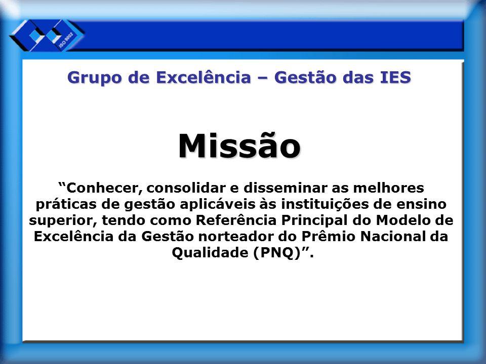 Grupo de Excelência – Gestão das IES Objetivo É objetivo do GE/GIES do CRA-SP ser reconhecido pelas IES, que buscam patamares elevados de desempenho, como um grupo que oferece conhecimentos úteis para a sua gestão em todas suas dimensões ou áreas