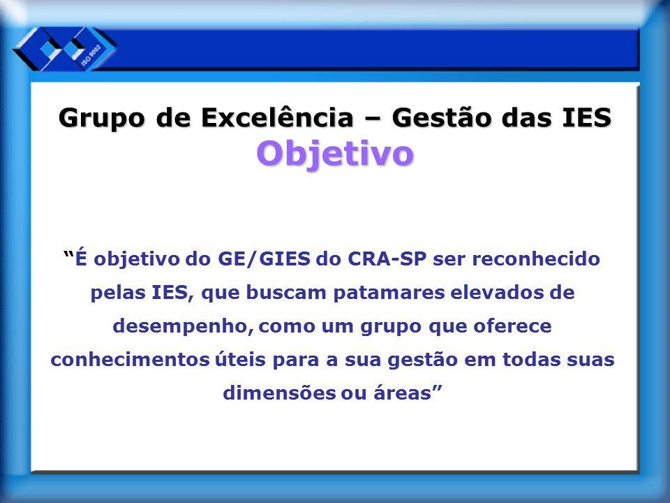 """Grupo de Excelência – Gestão das IES Objetivo """"É objetivo do GE/GIES do CRA-SP ser reconhecido pelas IES, que buscam patamares elevados de desempenho,"""