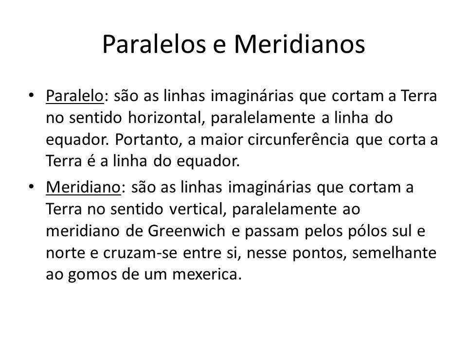 Paralelos e Meridianos Paralelo: são as linhas imaginárias que cortam a Terra no sentido horizontal, paralelamente a linha do equador. Portanto, a mai