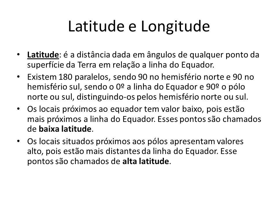 Latitude e Longitude Latitude: é a distância dada em ângulos de qualquer ponto da superfície da Terra em relação a linha do Equador. Existem 180 paral
