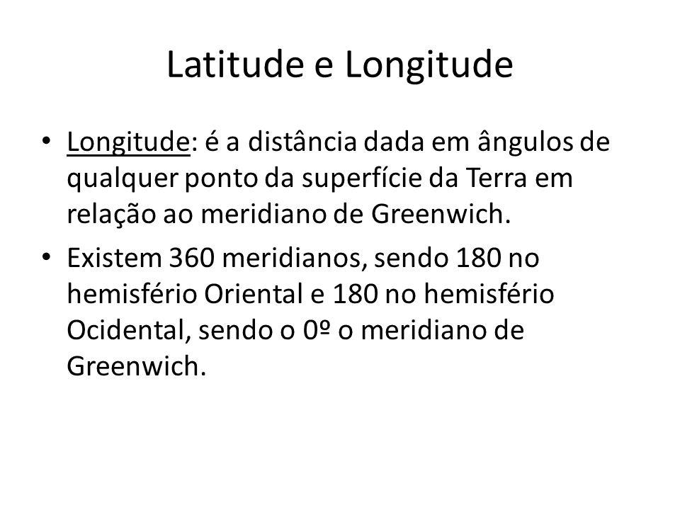 Latitude e Longitude Longitude: é a distância dada em ângulos de qualquer ponto da superfície da Terra em relação ao meridiano de Greenwich. Existem 3