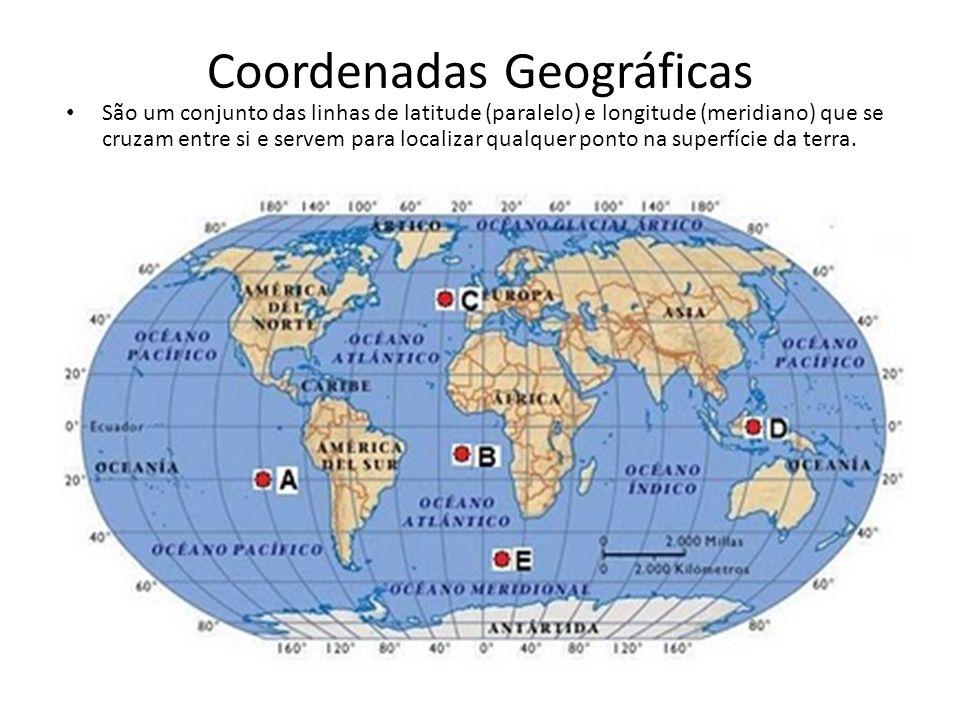 Coordenadas Geográficas São um conjunto das linhas de latitude (paralelo) e longitude (meridiano) que se cruzam entre si e servem para localizar qualq