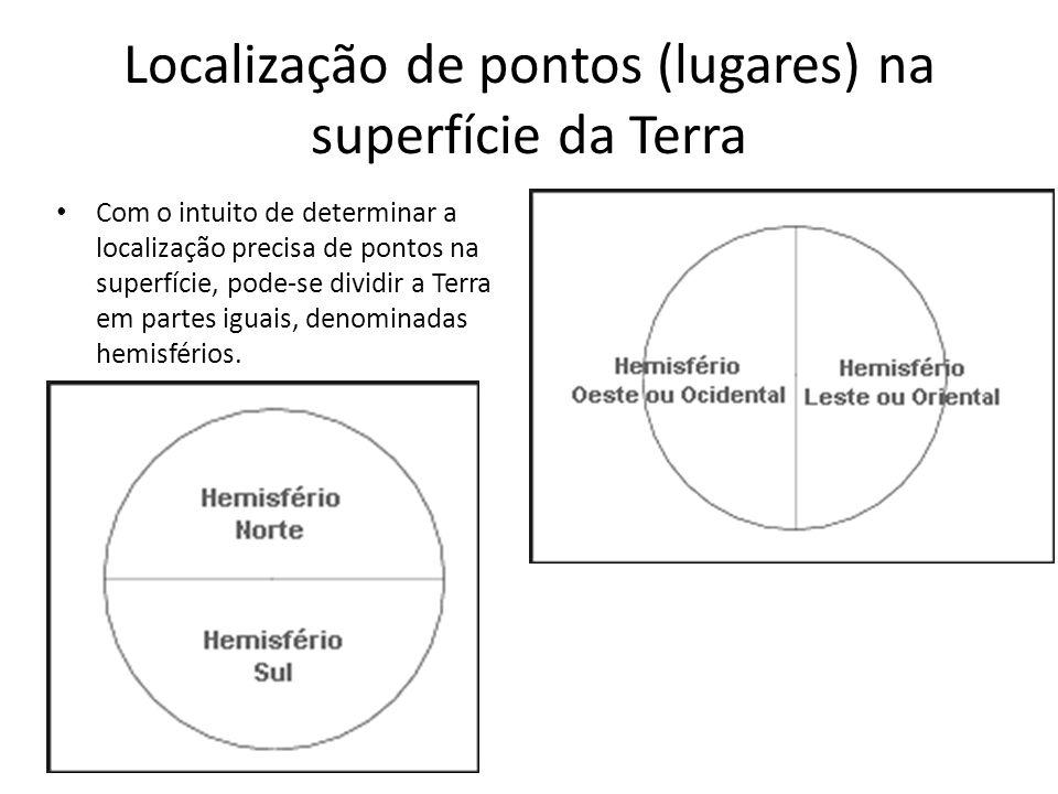 Localização de pontos (lugares) na superfície da Terra De acordo com o sistema de convenções adotado: Hemisfério Norte localiza-se ao norte da linha do equador.