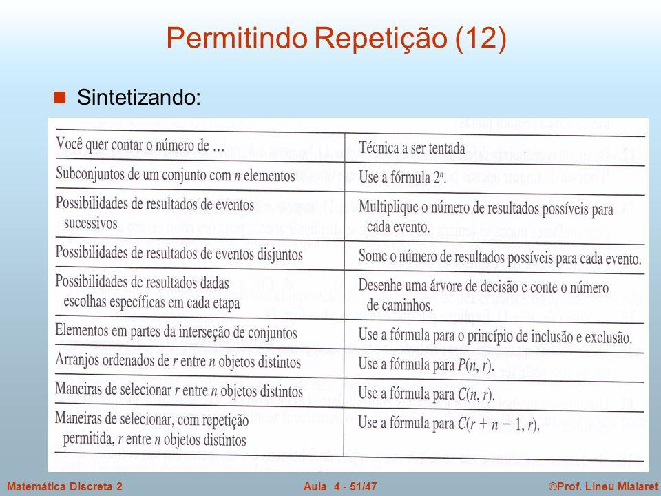 ©Prof. Lineu MialaretAula 4 - 51/47Matemática Discreta 2 Permitindo Repetição (12) n Sintetizando: