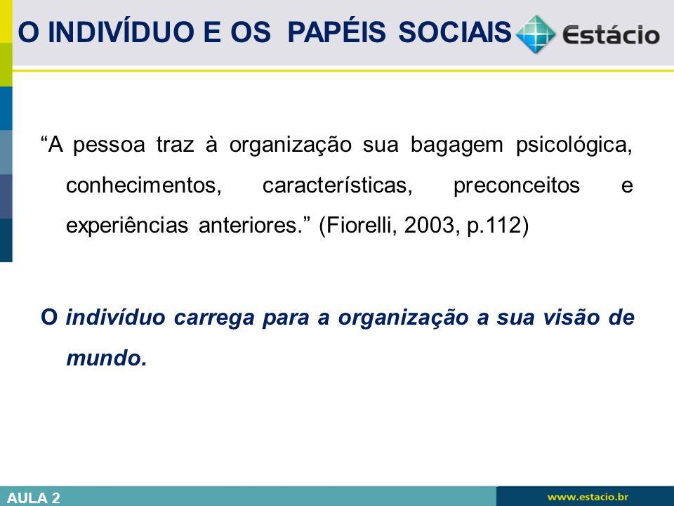 """""""A pessoa traz à organização sua bagagem psicológica, conhecimentos, características, preconceitos e experiências anteriores."""" (Fiorelli, 2003, p.112)"""
