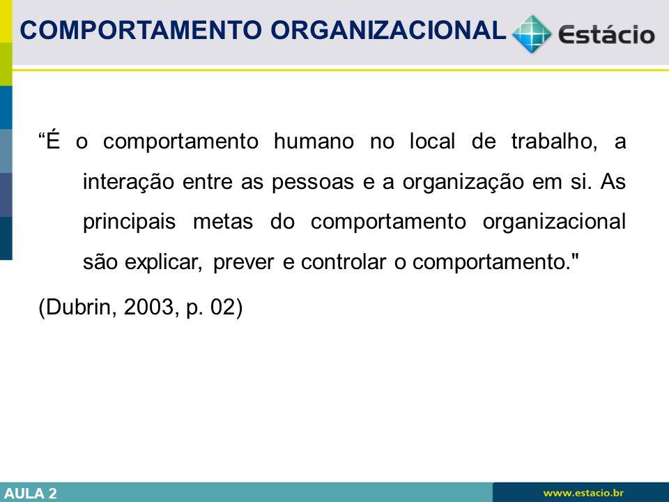 """""""É o comportamento humano no local de trabalho, a interação entre as pessoas e a organização em si. As principais metas do comportamento organizaciona"""