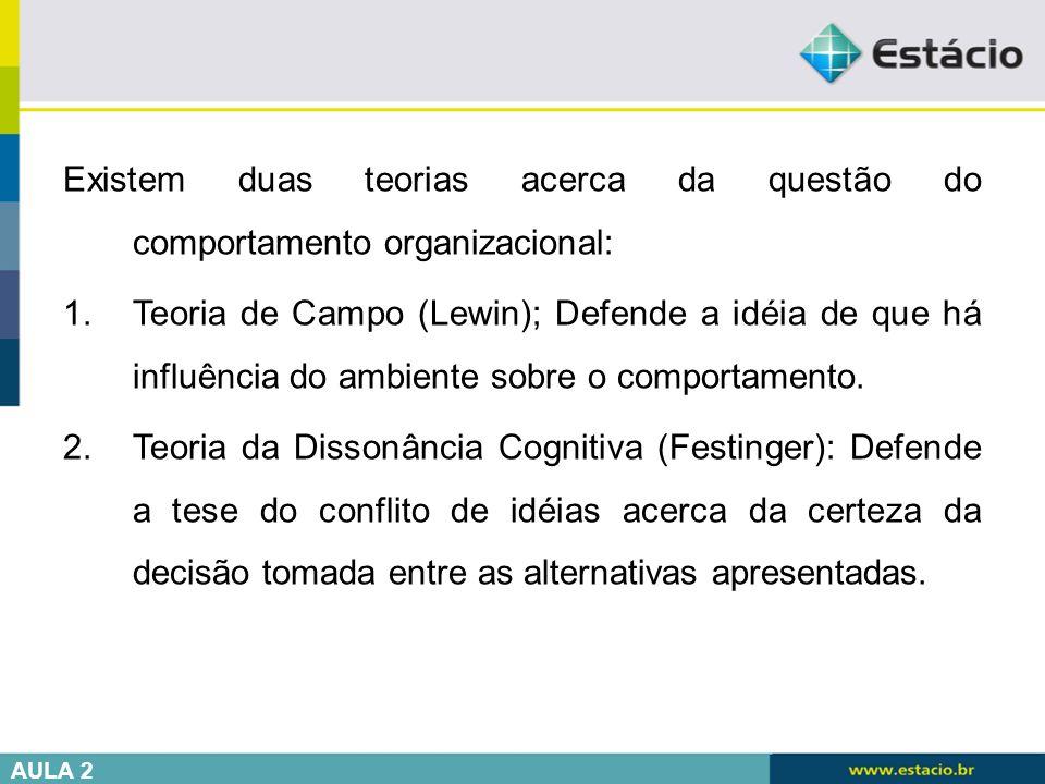 Existem duas teorias acerca da questão do comportamento organizacional: 1.Teoria de Campo (Lewin); Defende a idéia de que há influência do ambiente so