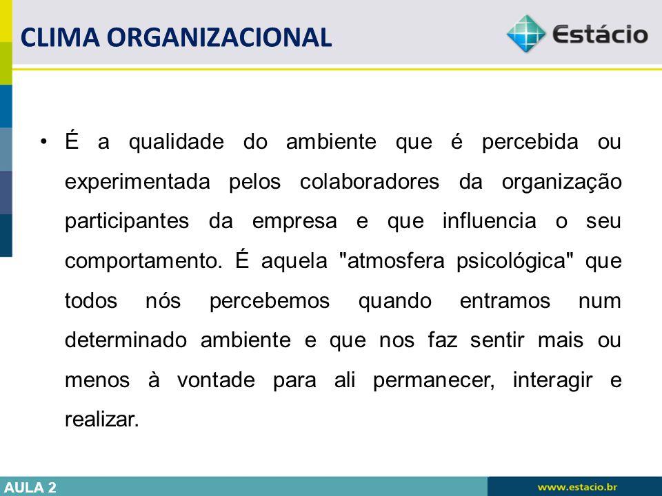 É a qualidade do ambiente que é percebida ou experimentada pelos colaboradores da organização participantes da empresa e que influencia o seu comporta