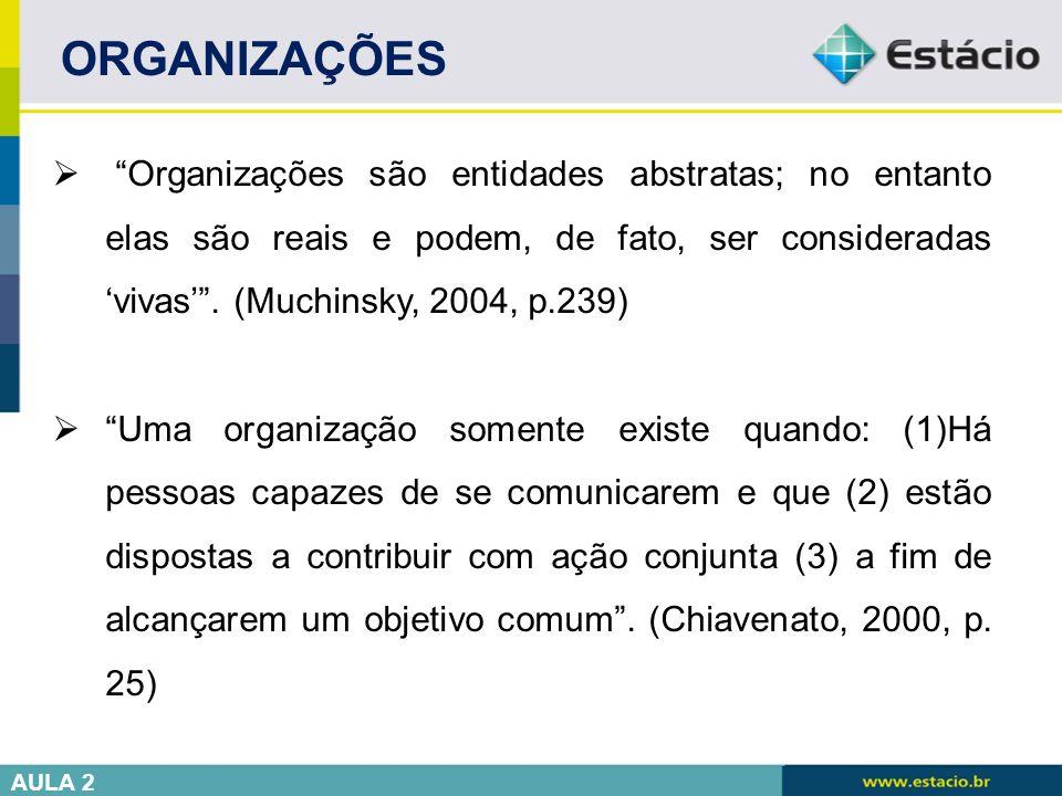""" """"Organizações são entidades abstratas; no entanto elas são reais e podem, de fato, ser consideradas 'vivas'"""". (Muchinsky, 2004, p.239)  """"Uma organi"""