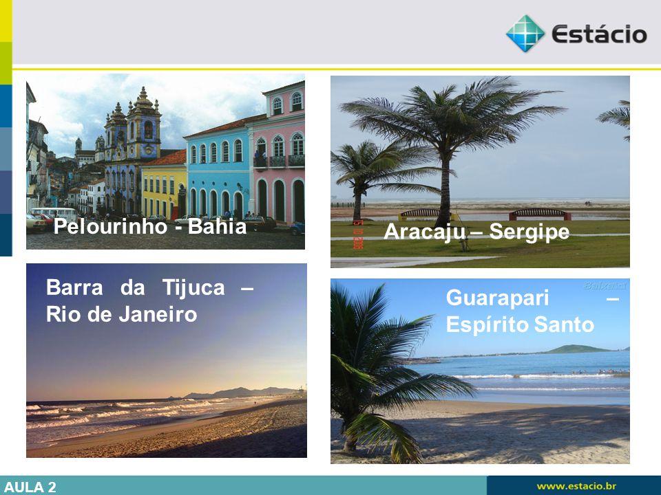 Guarapari – Espírito Santo Pelourinho - Bahia Barra da Tijuca – Rio de Janeiro Aracaju – Sergipe AULA 2
