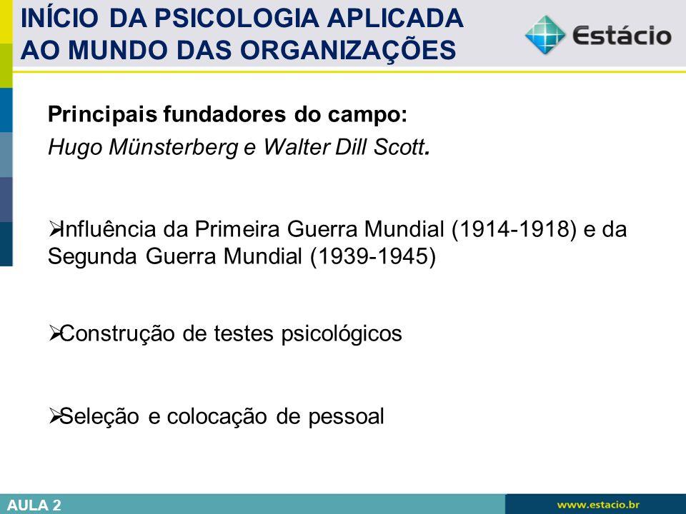 INÍCIO DA PSICOLOGIA APLICADA AO MUNDO DAS ORGANIZAÇÕES Principais fundadores do campo: Hugo Münsterberg e Walter Dill Scott.  Influência da Primeira