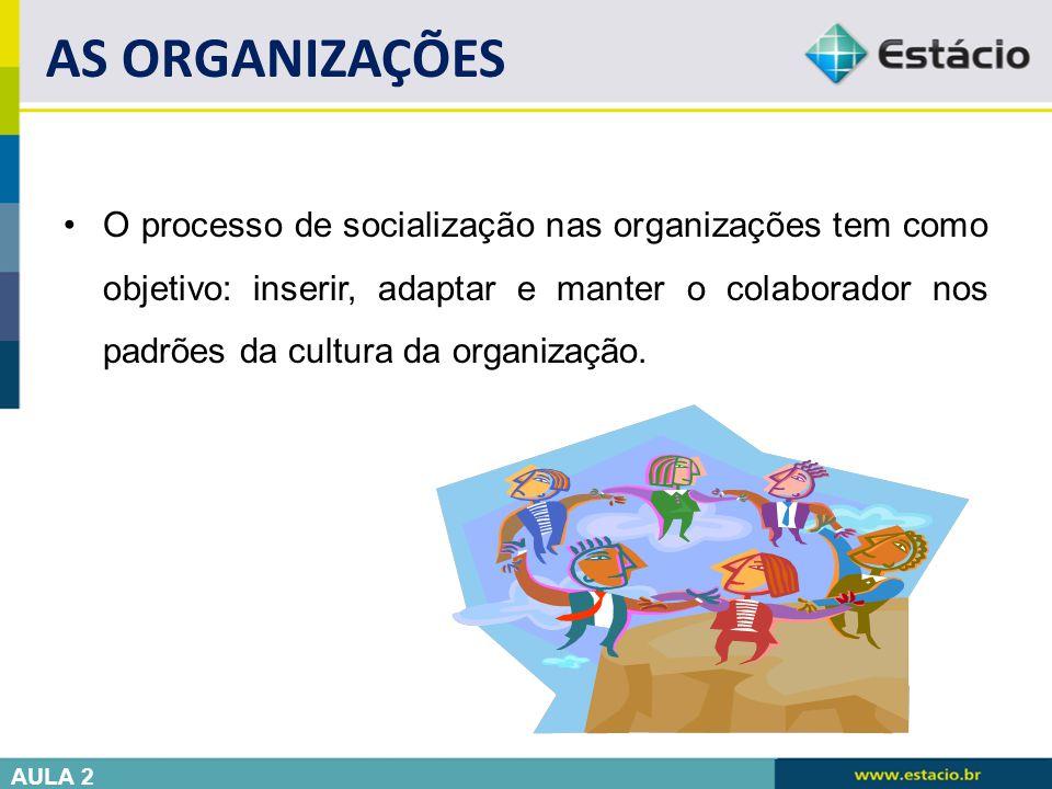 O processo de socialização nas organizações tem como objetivo: inserir, adaptar e manter o colaborador nos padrões da cultura da organização. AS ORGAN