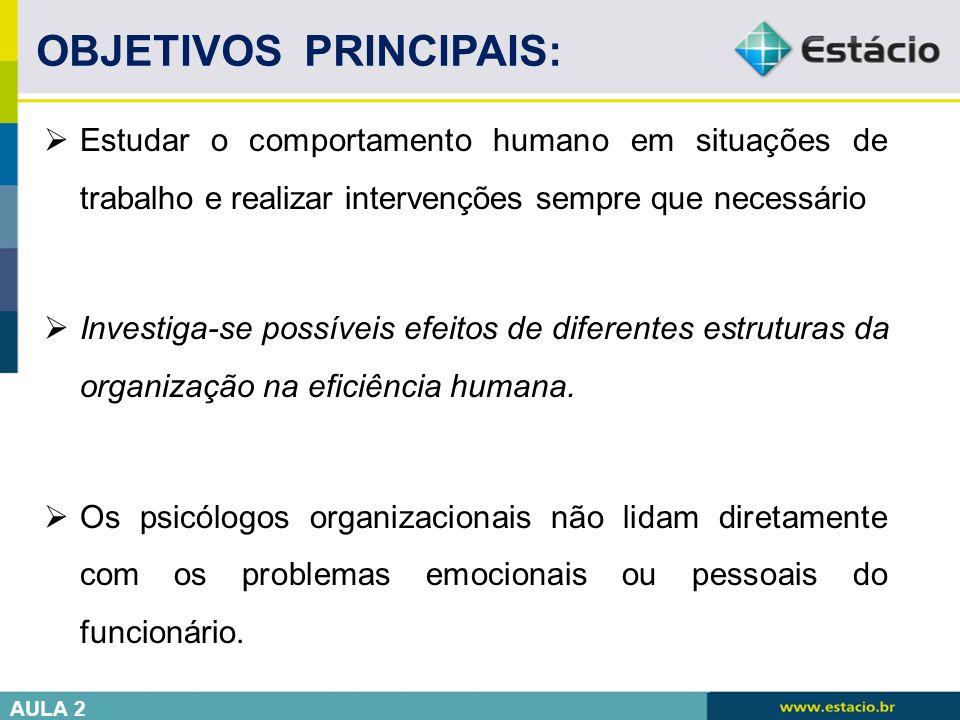  Estudar o comportamento humano em situações de trabalho e realizar intervenções sempre que necessário  Investiga-se possíveis efeitos de diferentes