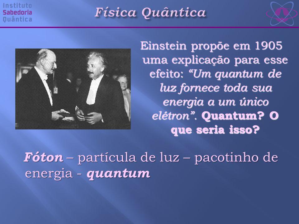 Einstein propõe em 1905 uma explicação para esse efeito: Um quantum de luz fornece toda sua energia a um único elétron .