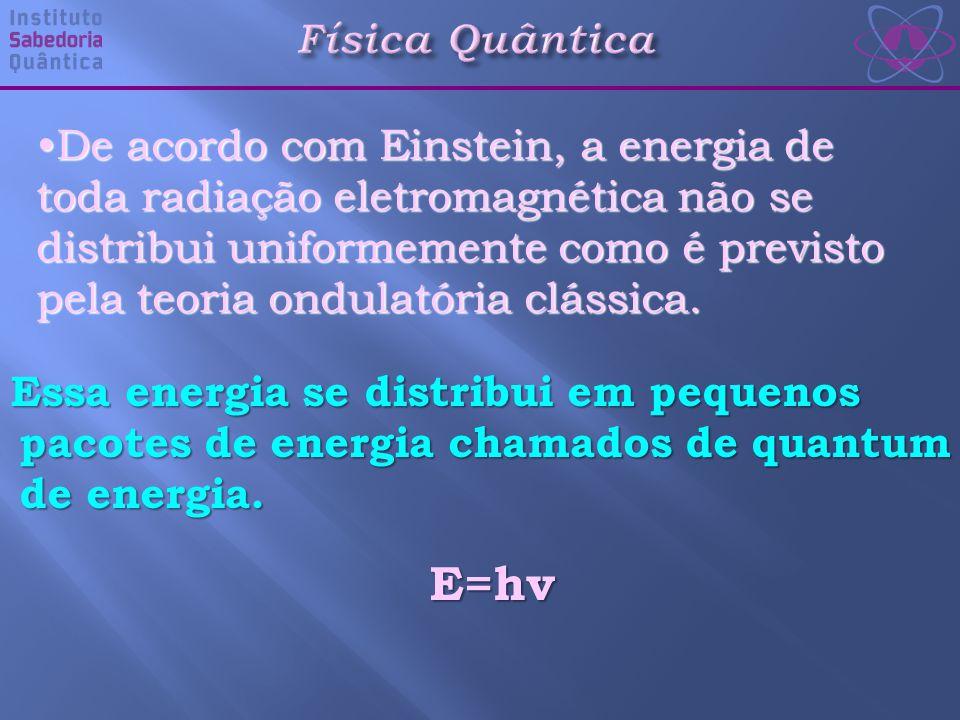 Física Quântica Essa energia se distribui em pequenos pacotes de energia chamados de quantum de energia.