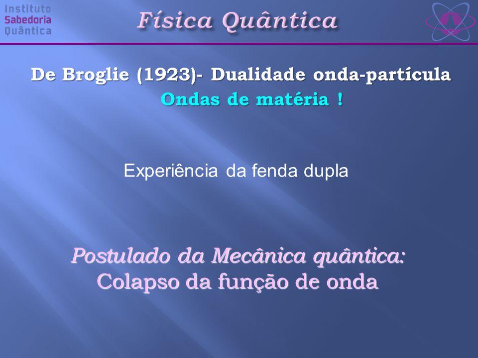 De Broglie (1923)- Dualidade onda-partícula Ondas de matéria .