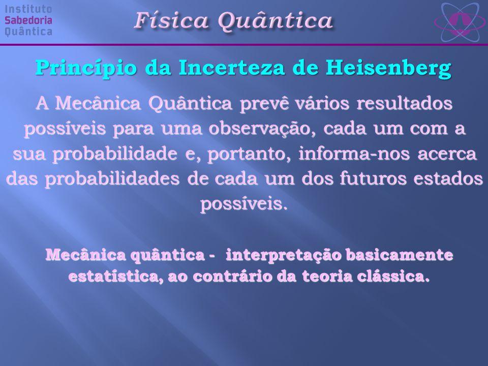 Princípio da Incerteza de Heisenberg A Mecânica Quântica prevê vários resultados possíveis para uma observação, cada um com a sua probabilidade e, portanto, informa-nos acerca das probabilidades de cada um dos futuros estados possíveis.