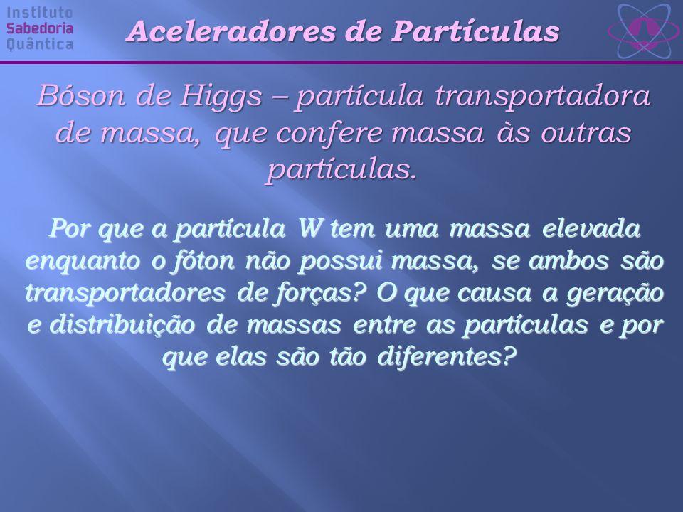 Aceleradores de Partículas Bóson de Higgs – partícula transportadora de massa, que confere massa às outras partículas.
