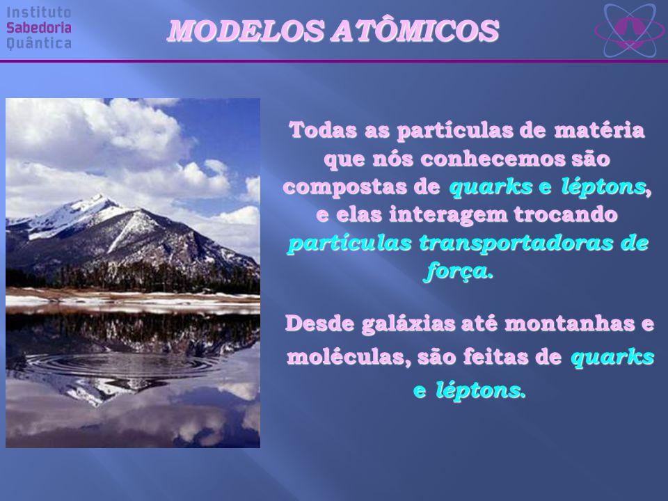 MODELOS ATÔMICOS Todas as partículas de matéria que nós conhecemos são compostas de quarks e léptons, e elas interagem trocando partículas transportadoras de força.
