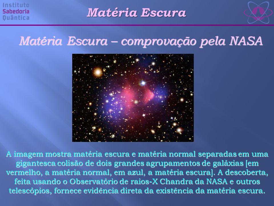 Matéria Escura – comprovação pela NASA A imagem mostra matéria escura e matéria normal separadas em uma gigantesca colisão de dois grandes agrupamentos de galáxias [em vermelho, a matéria normal, em azul, a matéria escura].