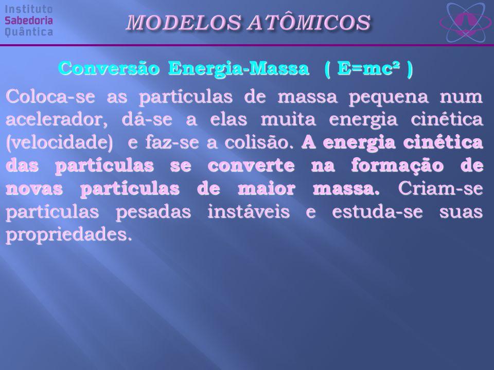 Conversão Energia-Massa ( E=mc² ) Coloca-se as partículas de massa pequena num acelerador, dá-se a elas muita energia cinética (velocidade) e faz-se a colisão.
