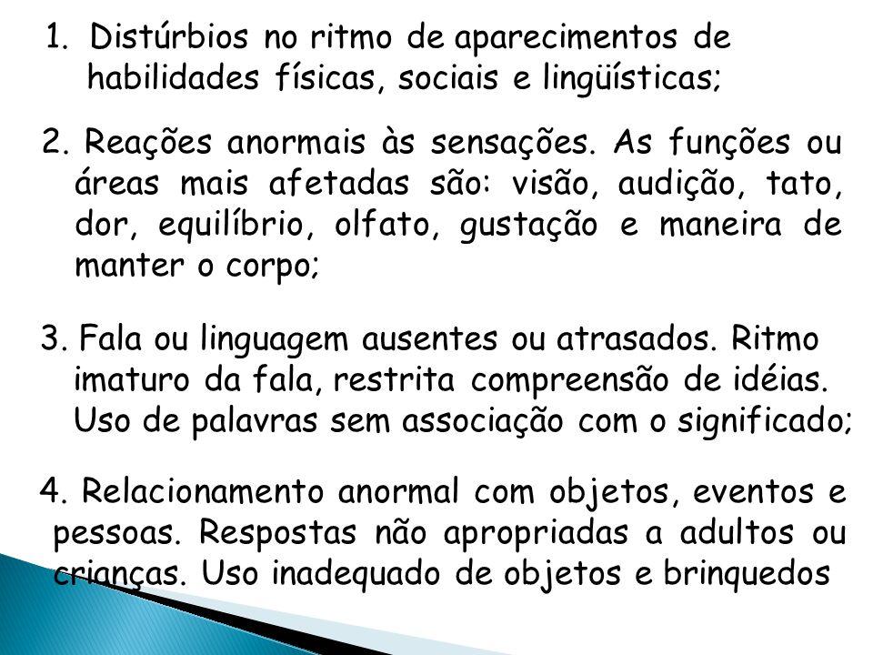 1.Distúrbios no ritmo de aparecimentos de habilidades físicas, sociais e lingüísticas; 2.