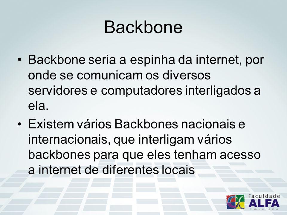 Backbone seria a espinha da internet, por onde se comunicam os diversos servidores e computadores interligados a ela.