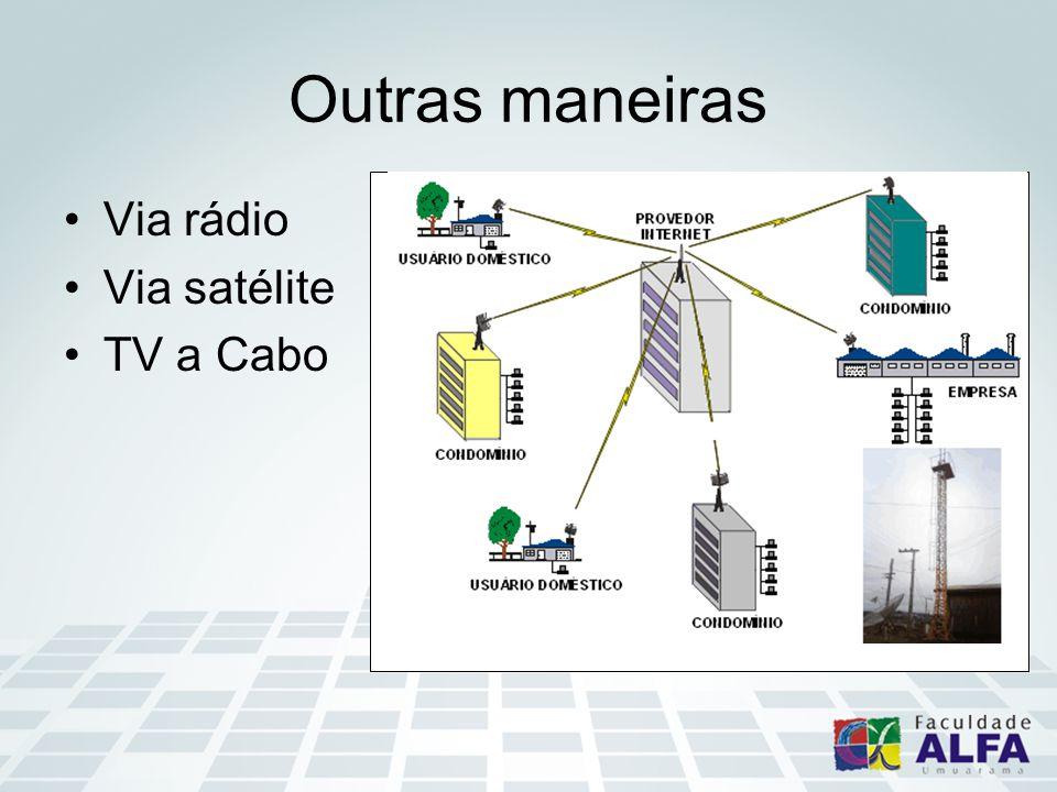 Outras maneiras Via rádio Via satélite TV a Cabo