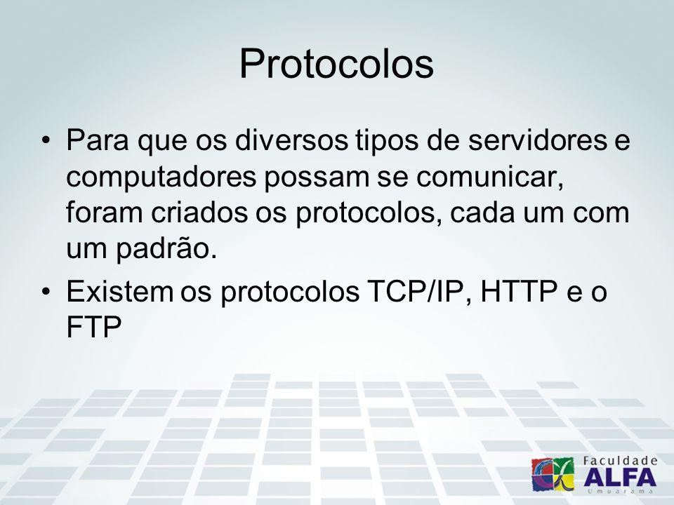 Protocolos Para que os diversos tipos de servidores e computadores possam se comunicar, foram criados os protocolos, cada um com um padrão.