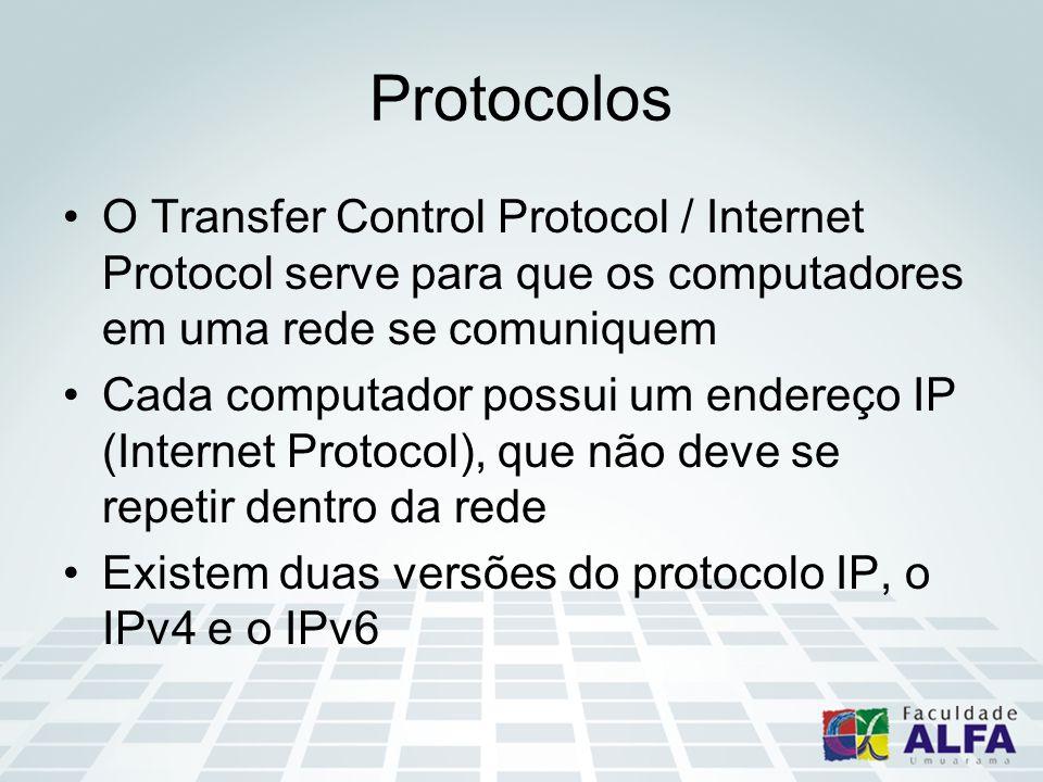 Protocolos O Transfer Control Protocol / Internet Protocol serve para que os computadores em uma rede se comuniquem Cada computador possui um endereço IP (Internet Protocol), que não deve se repetir dentro da rede Existem duas versões do protocolo IP, o IPv4 e o IPv6