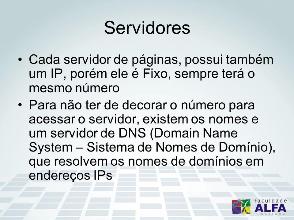 Servidores Cada servidor de páginas, possui também um IP, porém ele é Fixo, sempre terá o mesmo número Para não ter de decorar o número para acessar o servidor, existem os nomes e um servidor de DNS (Domain Name System – Sistema de Nomes de Domínio), que resolvem os nomes de domínios em endereços IPs